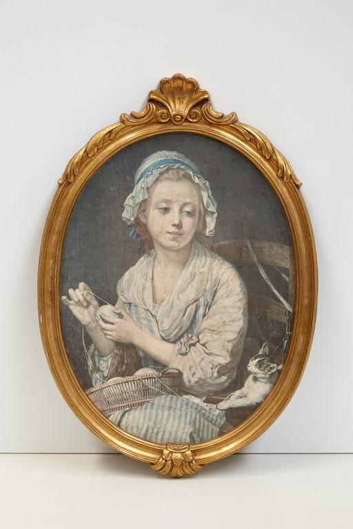 schilderij-vintage-ovaal-meisje-met-bolletjes-wol-3185